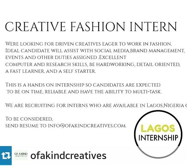 Wanted Creative Fashion Intern Lagos Nigeria Cc Bukolaare Rarolae Com